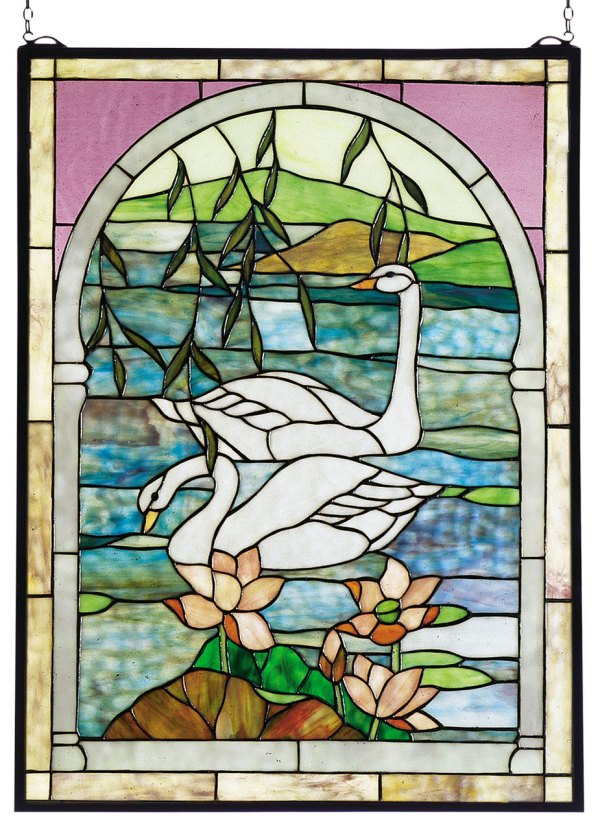 "Swans | Stained Glass Panel | 22"" X 30"""