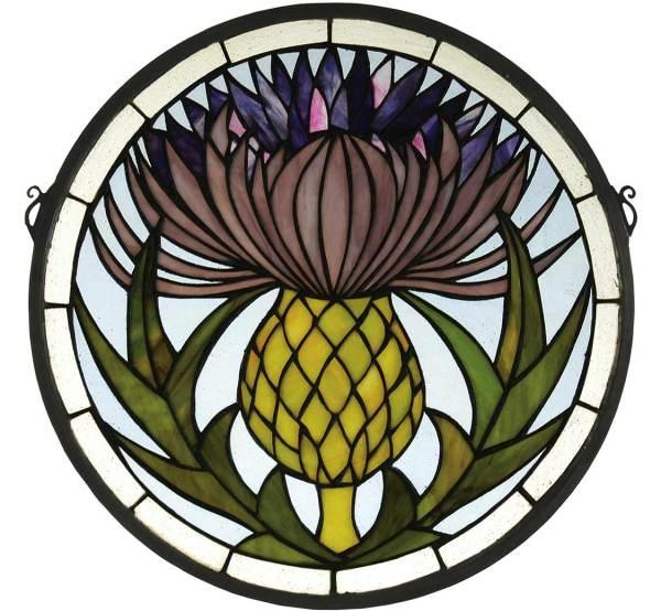"Thistle | Tiffany Art Glass Window | 17"" X 17"""