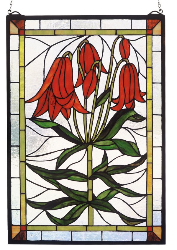 """Trumpet Lily   Hanging Stained Glass Panel   16"""" X 24"""""""