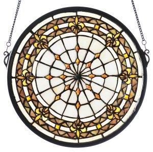 "Fleur-De-Lis | Stained Glass Window | 13"" H X 13"" W"