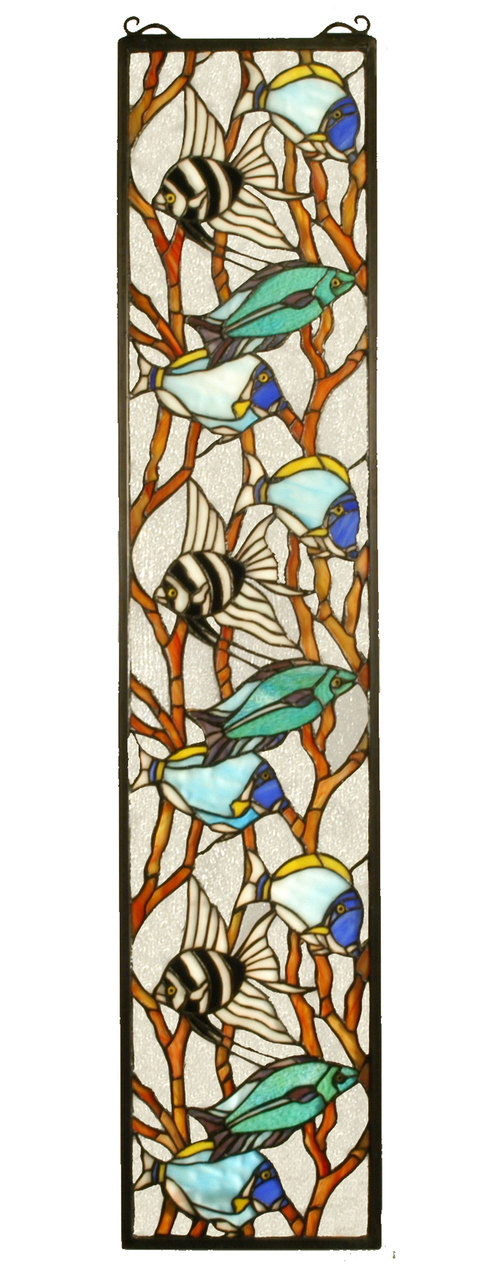 """Tropical Fish   Hanging Stained Glass Panel   9"""" W X 42"""" H"""