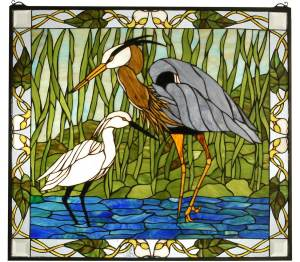 "Blue Heron & Snowy Egret | Art Glass Window | 30"" X 27"""