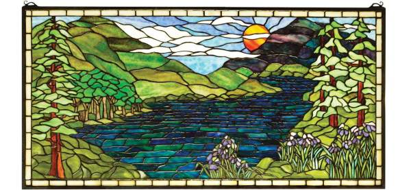 "Sunset Meadow | Art Glass Window Hanging | 40"" X 20"""