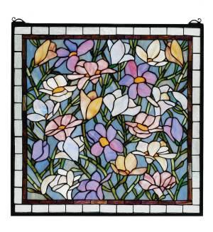 "Sugar Magnolia | Art Glass Window | 22"" X 22"""
