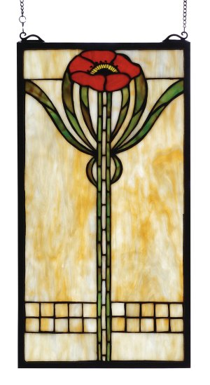 "Parker Poppy | Stained Glass Window Hanging | 11"" W X 20"" H"