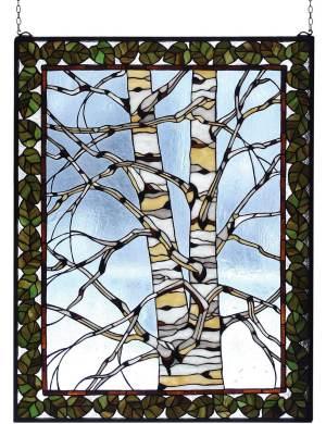 "Birch Tree in Winter | Stained Glass Window Panel | 28"" X 36"""