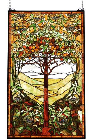 "Tiffany Tree of Life | Art Glass Window Hanging | 29"" X 48"""