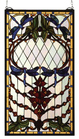 "Dragonfly Allure | Stained Glass Window Hanging | 14"" W X 25"" H"