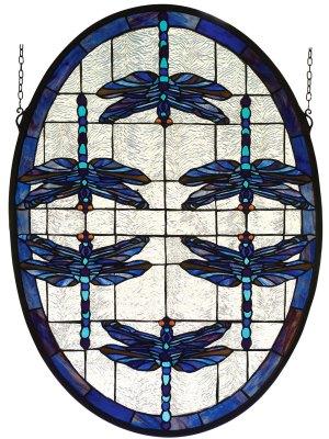 "Dragonflies Oval | Stained Glass Window | 22"" W X 30"" H"