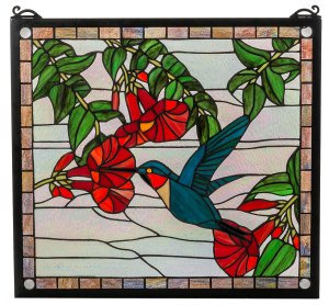 "Sweet Hummingbird | Stained Glass Panel | 21"" W X 19"" H"