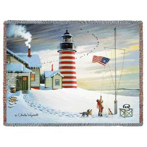 West Quoddy Lighthouse by Charles Wysocki | Throw Blanket | 70 x 54