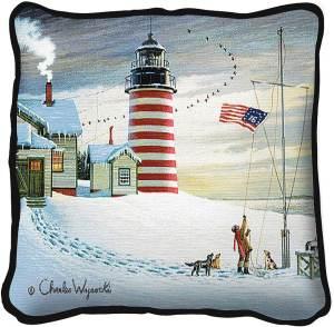 West Quoddy Lighthouse by Charles Wysocki | Throw Pillow | 17 x 17