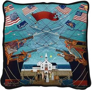 Dockside Marriage by Charles Wysocki   Throw Pillow   17 x 17