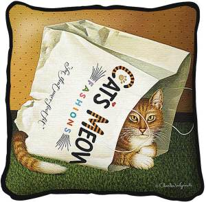 Cat's In The Bag by Charles Wysocki | Throw Pillow | 17 x 17