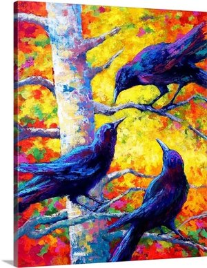 Poplar Crows by Marion Rose Art Print on Canvas