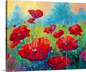Field of Red Poppies by Marion Rose Art Print on Canvas