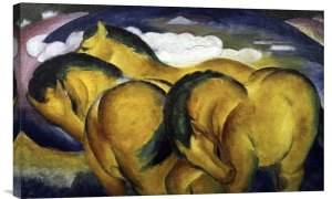 Little Yellow Horses by Franz Marc Painting Print on Gallery Wrapped Canvas