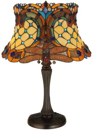"22.5"" H Tiffany Hanginghead Dragonfly Accent Lamp"