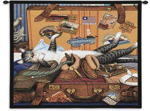Charles Wysocki Cat Mabel The Stowaway | 34 x 26 | Tapestry Wall Hanging