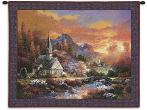 """Morning of Hope   34"""" x 26""""   Woven Tapestry Hanging"""