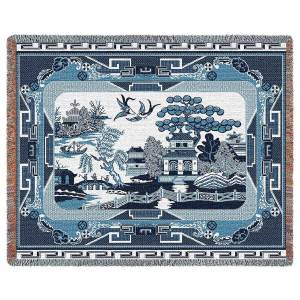Willow Blue | Tapestry Blanket | 70 x 54