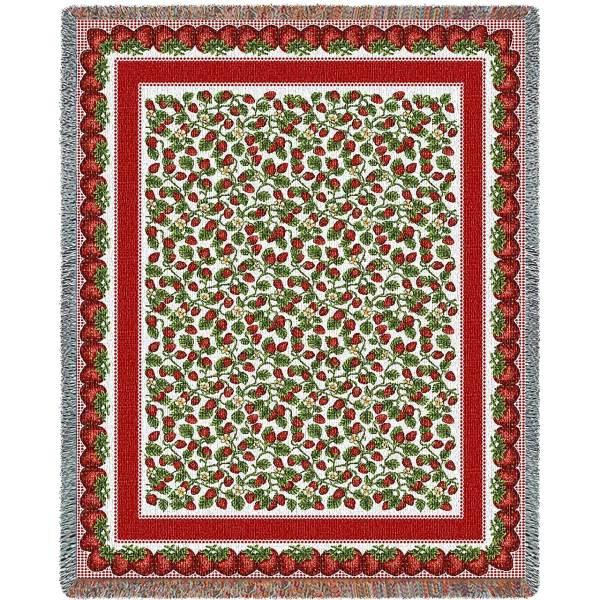 Strawberry Festival   Cotton Throw Blanket