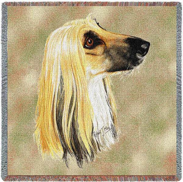 "Afghan Breed Portrait   Throw Blanket   54"" x 54"""
