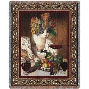 Bacchus Cat | Afghan Blanket | 54 x 70