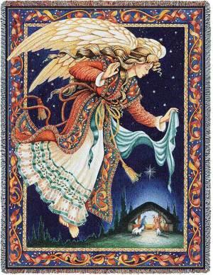 Celestial Tidings | Christmas Nativity | Christmas Throw Blanket | 70 x 53