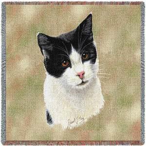 Cat Portrait   Black & White   Afghan Blanket   54 x 54