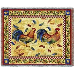 Two Roosters | Afghan Blanket | 54 x 70