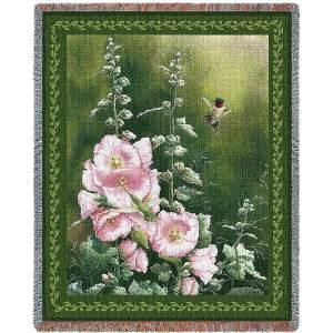 Hollyhock Hummer | Afghan Blanket | 54 x 70