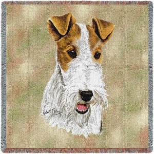"Wire Fox Terrier Breed Portrait | Throw Blanket | 54"" x 54"""