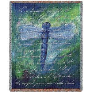 Dragonfly Poem Contemporary | Throw Blanket