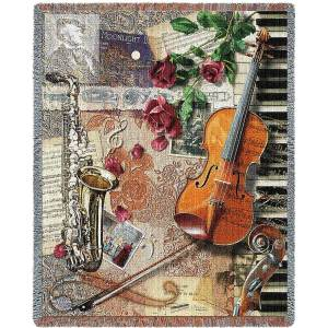 Ensemble of Music Instruments Blanket   54 x 70