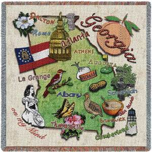 Georgia State Map Blanket | Woven Tapestry Throw | 54 x 54