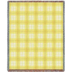 Lemon Plaid | Tapestry Blanket | 53 x 70