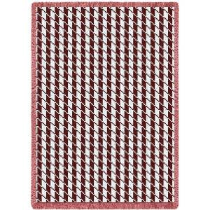 Houndstooth Cranberry | Afghan Throw | 48 x 69