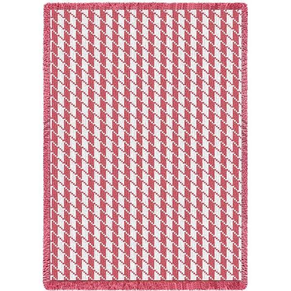 Houndstooth Pink | Afghan Blanket | 48 x 69