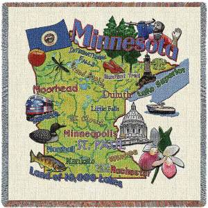 Minnesota State Map Blanket | Woven Tapestry Throw | 54 x 54
