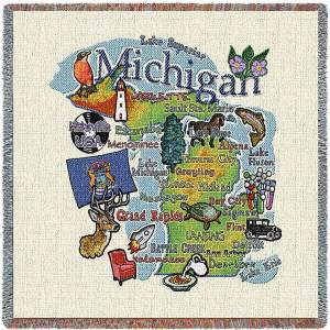 Michigan State Map Blanket | Woven Tapestry Throw | 54 x 54