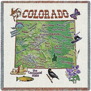 Colorado State Map Blanket | Woven Tapestry Throw | 54 x 54