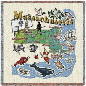 Massachusetts State Map Blanket | Woven Tapestry Throw | 54 x 54