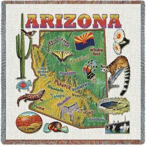 Arizona State Map Blanket | Woven Tapestry Throw | 54 x 54