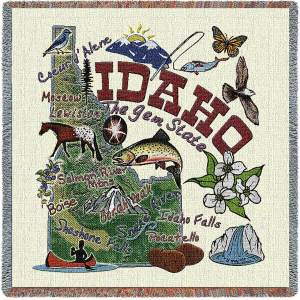 Idaho State Map Blanket | Woven Tapestry Throw | 54 x 54