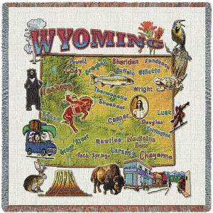 Wyoming State Map Blanket | Woven Tapestry Throw | 54 x 54