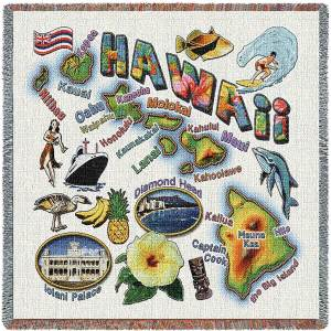 Hawaii State Map Blanket | Woven Tapestry Throw | 54 x 54