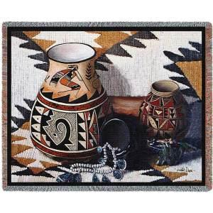 "Kokopelli Pot | Tapestry Blanket | 70"" x 54"""