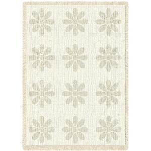 Flowers Mini Natural | Afghan Blanket | 48 x 35