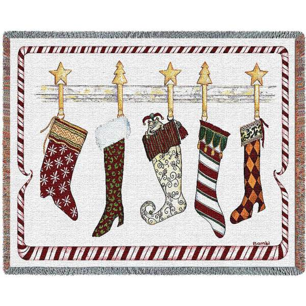 And the Stockings Were Hung   Woven Blanket